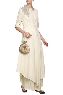 Off White Embroidered Aysmmetrical Collared Tunic with Matching Pants by Priyanka Singh