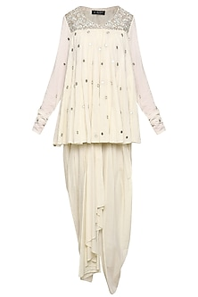 Off White Embroidered Tunic with Dhoti Pants and Dupatta
