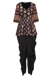 Black Floral Printed Short Tunic with Dhoti Pants