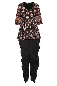 Black Floral Printed Short Tunic with Dhoti Pants by Priyanka Singh