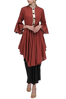 Maroon Layered Embroidered Tunic Set by Priyanka Singh