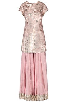 Baby Pink Foil Printed Kurta with Sharara Set by Priyanka Singh