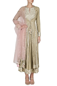 Beige Layered Embroidered Kalidaar Kurta Set by Priyanka Singh