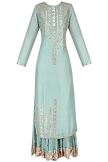Blue Embroidered Kurta with Crushed Cotton Sharara Pants Set by Priyanka Singh