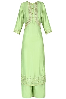 Pista Green Embroidered Kurta with Palazzo Pants Set