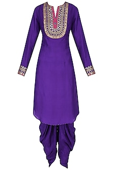 Purple Embroidered Kurta with Dhoti Pants Set