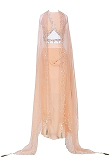 Peach Embroidered Crop Top and Cape with Drape Skirt