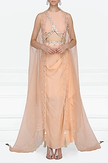 Peach Embroidered Crop Top and Cape with Drape Skirt by Priyanka Singh
