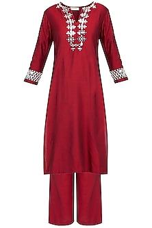 Red Embroidered Kurta Set by Preeti S Kapoor