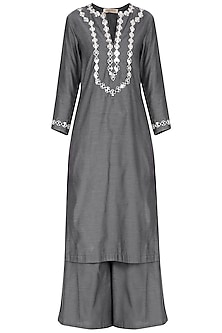 Grey Embroidered Kurta Set