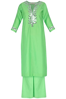 Pista Green Embroidered Kurta Set by Preeti S Kapoor