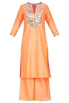 Orange Embroidered Kurta Set by Preeti S Kapoor