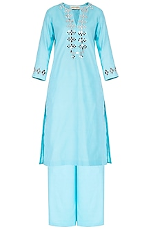 Sky Blue Embroidered Kurta Set
