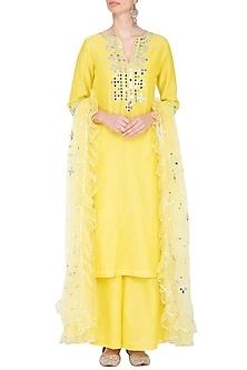 Yellow Embroidered Kurta Set by Preeti S Kapoor