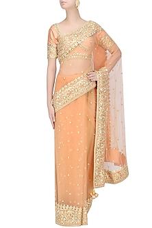 Peach Gota Patti Embellished Saree by Preeti S Kapoor
