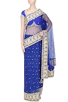 Blue Gota Patti Embellished Saree by Preeti S Kapoor