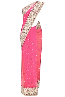 Fuschia Gota Patti Embellished Saree