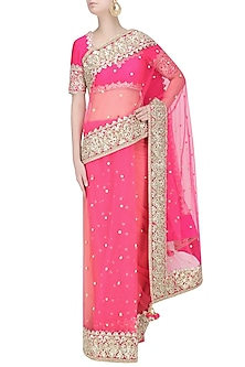 Fuschia Gota Patti Embellished Saree by Preeti S Kapoor
