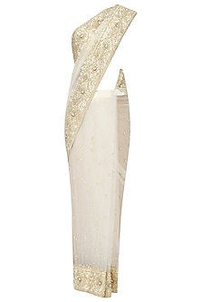 Off White Gota Patti Embellished Saree