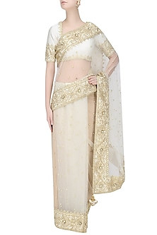Off White Gota Patti Embellished Saree by Preeti S Kapoor