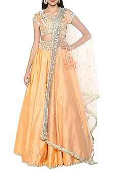 Peach Handcrafted Embroidered Lehenga Set by Preeti S Kapoor