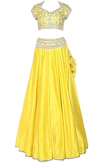 Bright Yellow Handcrafted Embroidered Lehenga Set by Preeti S Kapoor