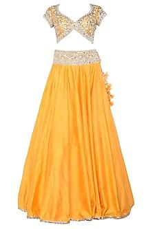 Orange Handcrafted Embroidered Lehenga Set by Preeti S Kapoor