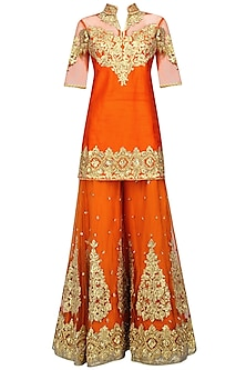 Orange and Gold Embroidered Sharara Set