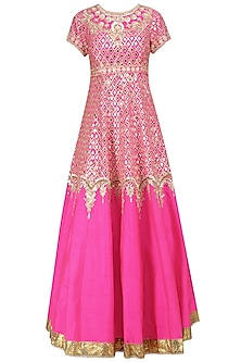 Fuschia Pink and Gold Anarkali Set