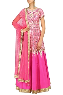 Fuschia Pink and Gold Anarkali Set by Preeti S Kapoor