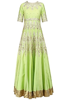 Green and Gold Embroidered Anarkali Set