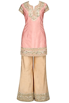 Light Pink and Gold Embroiderd Sharara Pants