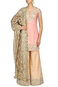 Light Pink and Gold Embroiderd Sharara Pants by Preeti S Kapoor