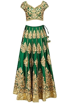Green and Gold Embroidered Lehenga Set