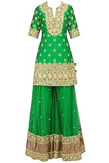 Green and Gold Embroidered Sharara Set