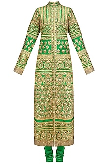 Green and Gold Embroidered Kurta Set