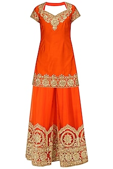 Orange Gota Patti Embroidered Sharara Set