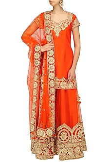 Orange Gota Patti Embroidered Sharara Set by Preeti S Kapoor
