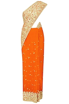 Orange Gota Patti Embroidered Saree and Blouse Set