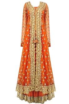Orange Pearl Studded Scalloped Hem Jacket, Blouse and Lehenga Set by Preeti S Kapoor