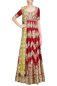 Red and Gold Gota Patti Embroidered Floral Motifs Anarkali Set by Preeti S Kapoor