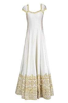 Ivory and Gold Gota Patti Embroidered Anarkali Set by Preeti S Kapoor