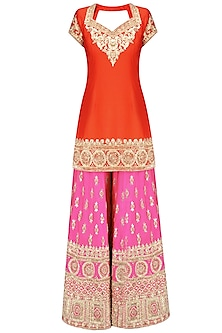 Orange Gota Patti Embroidered Kurta and Hot Pink Sharara Pants Set