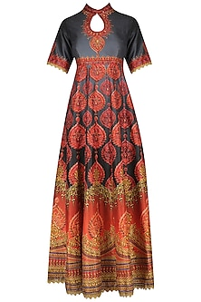 Red and Grey Swarosvski Embellished Digital Print Anarkali Set