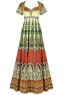 Red, Off White and Green Ombre Gota Embroidered Anarkali Set