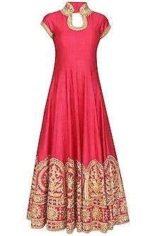 Rose pink gota patti embroidered anarkali set by Preeti S Kapoor