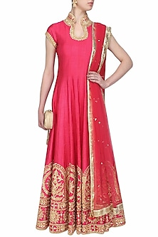 Rose pink gota patti embroidered anarkali set by Preeti S Kapoor