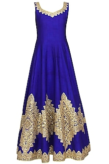 Blue mirror work and gota patti embroidered anarkali set by Preeti S Kapoor