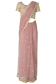 Lilac Mirror and Pearls Embellished Saree with Blouse by Amota by Priti Sahni