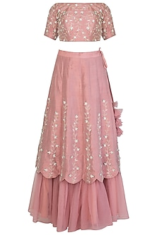 Nude Pink Embroidered Lehenga Set
